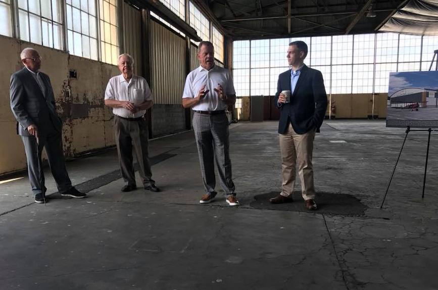 Mike Gouloff, Robert Wearley, Tom Kelley, Jim Banks meet at the proposed location for the National Airmail Museum. 05/31/2018